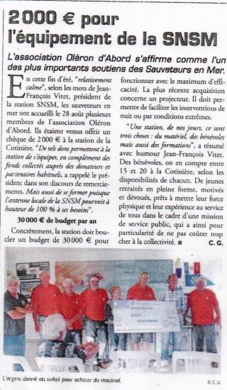 Article du Sud-Ouest Aout 2015